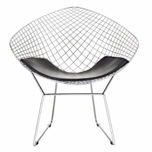 Diamond Lounge Chair - Chromed Steel with Leatherette PU Pad in Black (Set of 2)