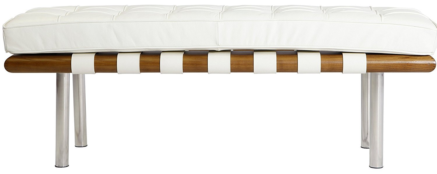 Modern Bench Wood Italian Leather in High Density Cushion (Off White)