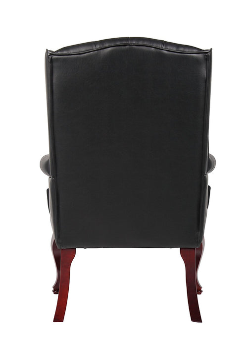 Traditional Wingback Guest Chair, Black leather