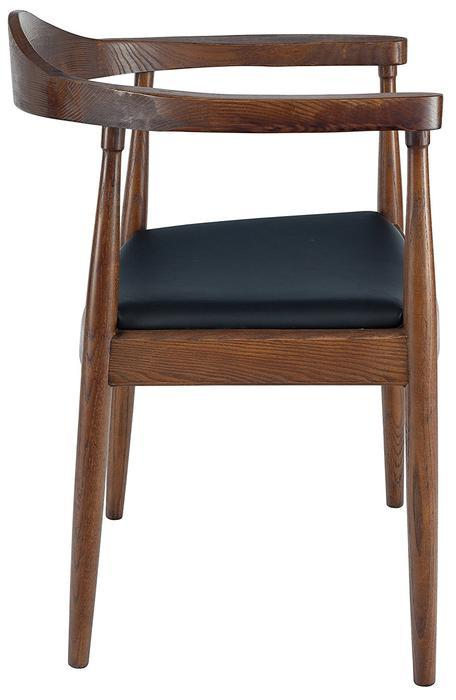 Presidential Dining Arm Chair - Wood Frame with Black PU Seat Cushion (Set of 2)