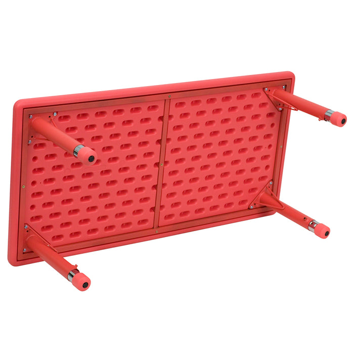 Nicer Furniture - Flash Furniture 24''W x 48''L Height Adjustable Rectangular Plastic Activity Table, Red