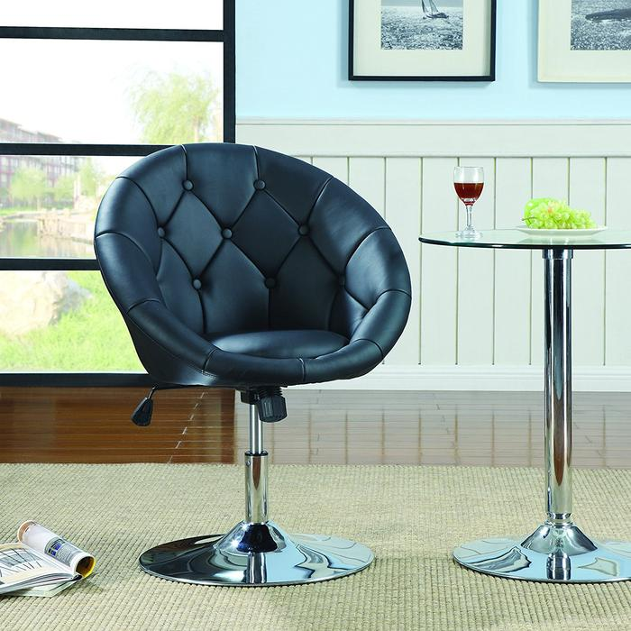 Rounded Faux Leather PU Height Adjustable Leisure Bar Stool in White (Set of 2)