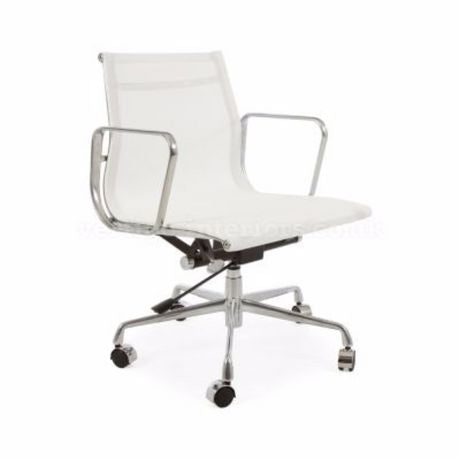 Eames White Modern Executive Office Chair Tilt Adjustable Seat - Low Back Mesh