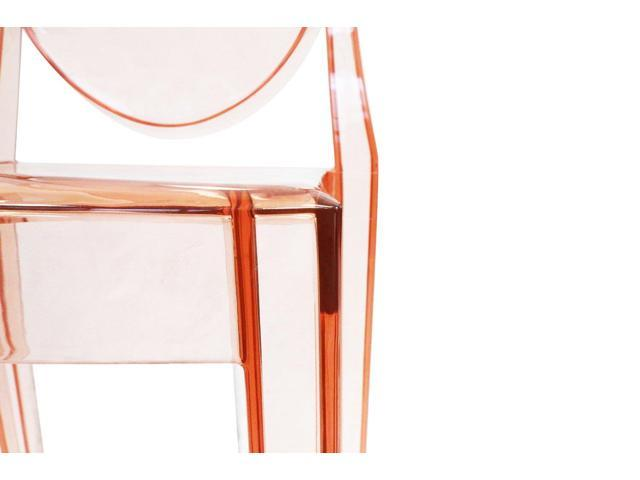 Side Chair without Arms - Polycarbonate Plastic in Transparent Pink (Set of 4)