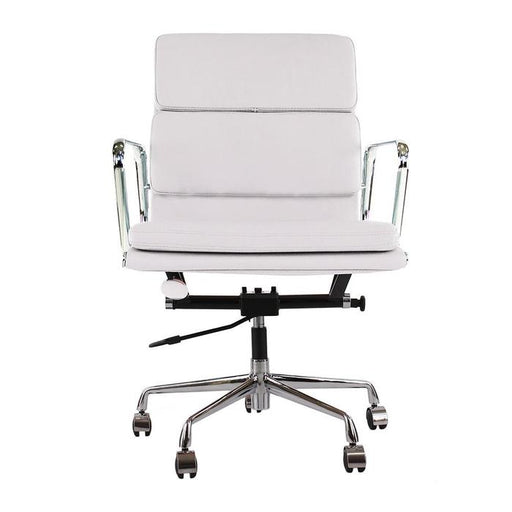Low Back Chair with Genuine Leather Soft Pad Office Executive Chair, White