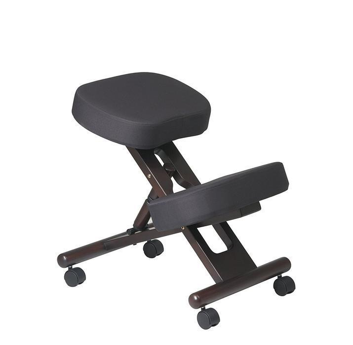 Kneeling Chair with Memory Foam Mahogany Wooden Frame Black Fabric
