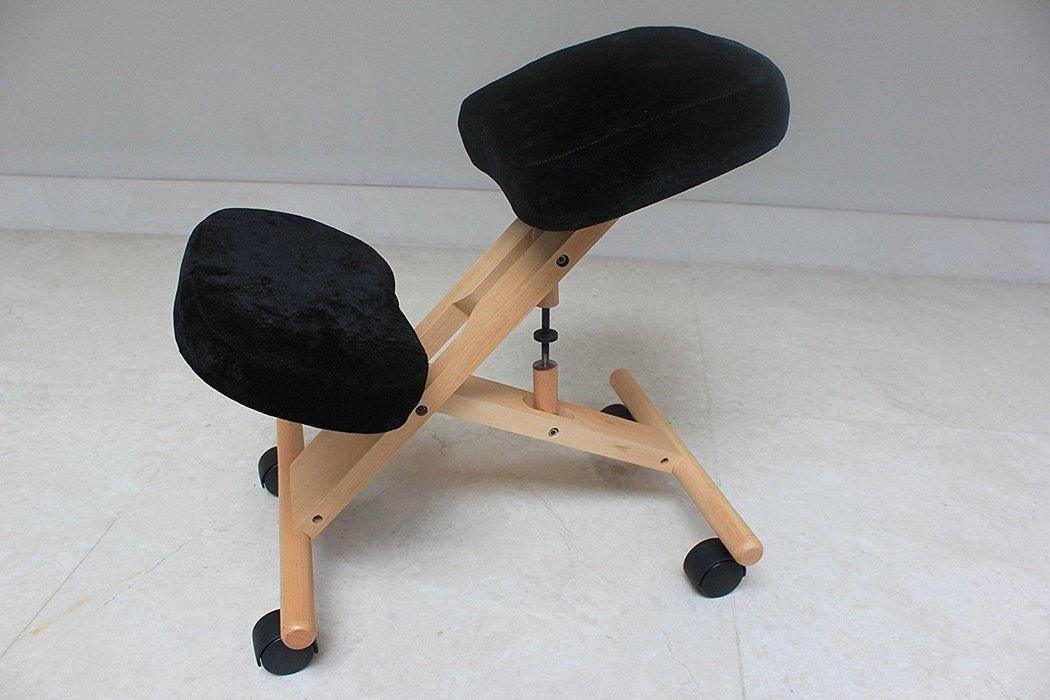 Kneeling Chair with Memory Foam Espresso Wooden Frame Black Fabric