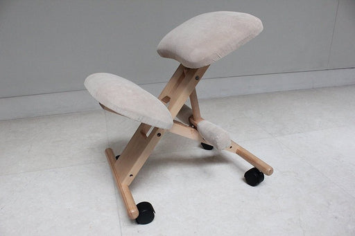 Kneeling Chair with Memory Foam Natural Wooden Frame Gray Fabric