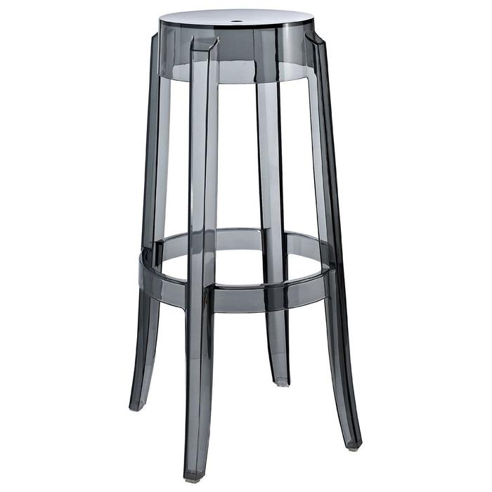Stool in Transparent Smoke Counter Height Clear Smoke Counter Stool