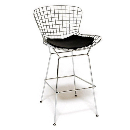 Set of 1 Harry Bertoia Chromed Steel Wire Frame Bar Height Bar stool with Leatherette PU Pad