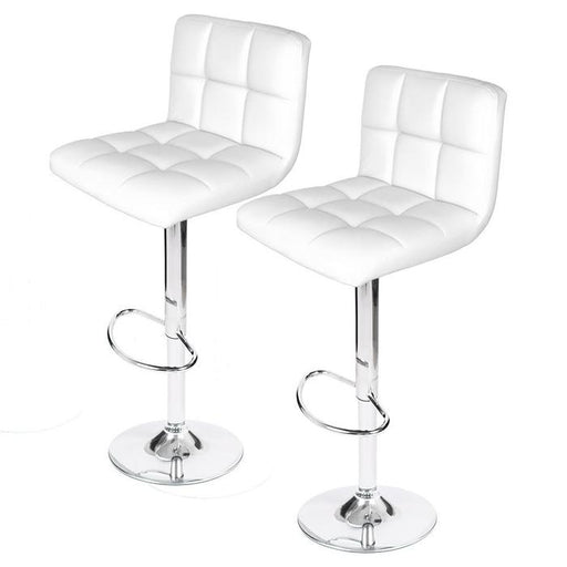 Hexagrid PU Height Adjustable Bar Stool in White (Set of 2)