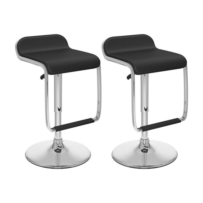 Vinyl Height Adjustable Barstool in White (Set of 2)