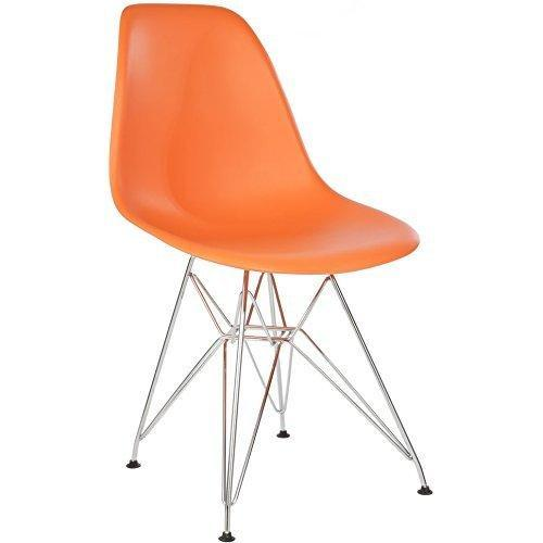 Orange - Chromed Steel Legs Eiffel Dining Room Chair (Set of 4)