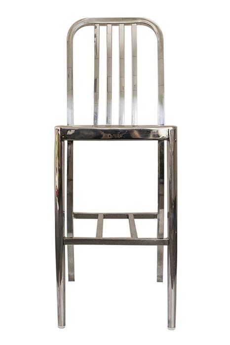 Stainless Steel Modern Bar Stool with Polished Finish (Set of 2)