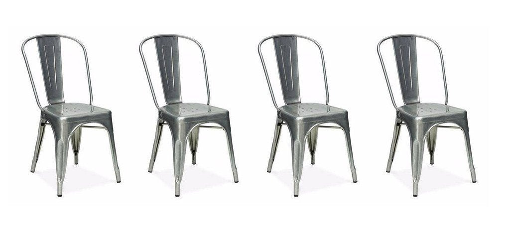 Stackable Industrial A Style Dining Chair- Steel Chairs - Gunmetal (Set of 4)
