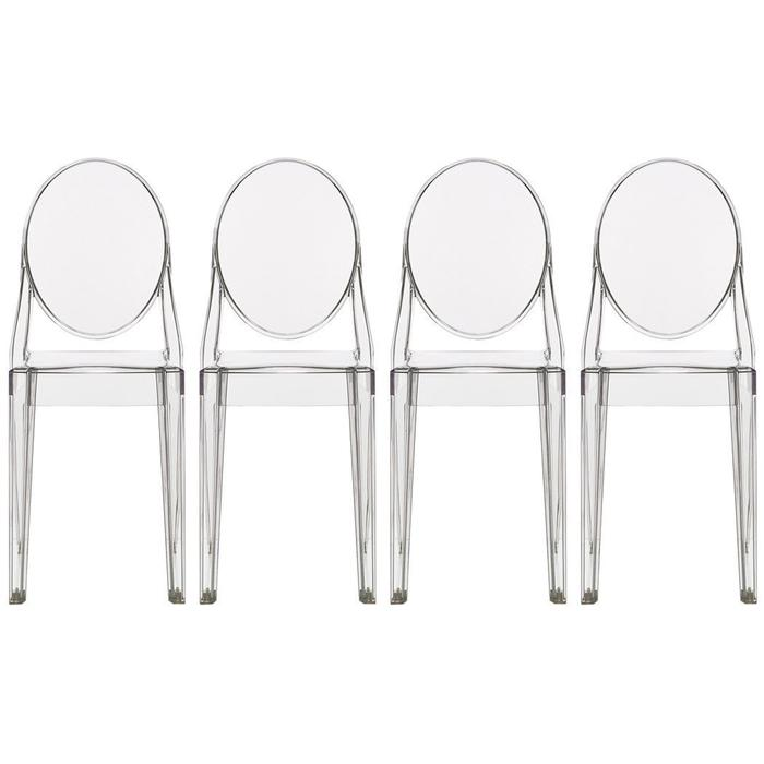 Modern Victoria Dining Chair Polycarbonate Plastic in Smoke (Set of 4)
