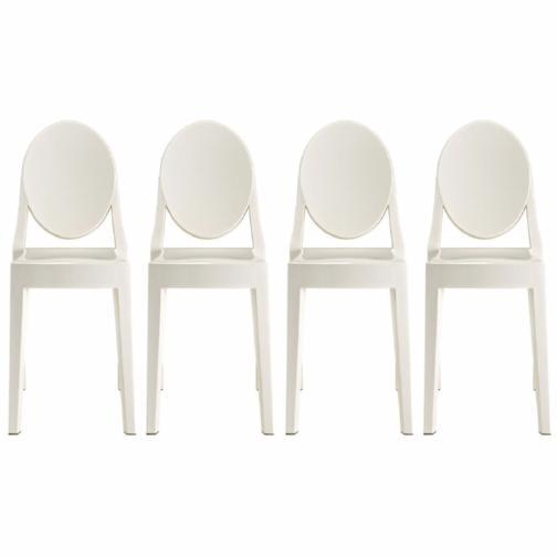 Modern Victoria Dining Chair Polycarbonate Plastic in Black (Set of 4)