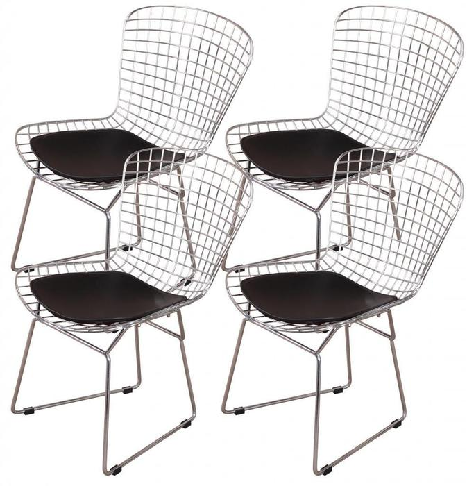 Harry Bertoia Chromed Steel Wire Frame Side Chairs with Leatherette PU Pad, Black (Set of 4)