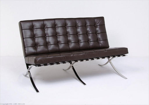 Modern Barcelona Loveseat Dark Brown