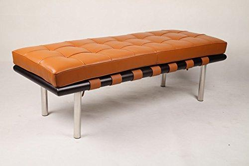 Modern Bench Wood Italian Leather in High Density Cushion (Red)