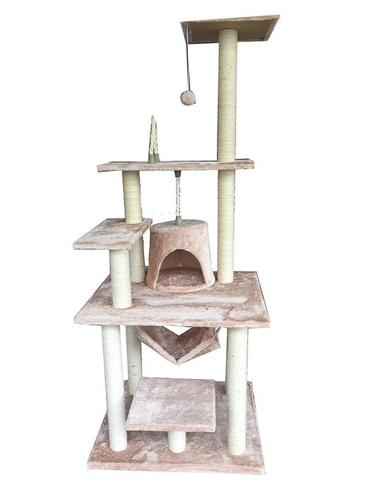 "iPet 65"" Cat Tree Condo Teepee Exercise Tree in Beige"