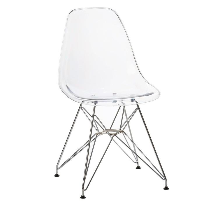 Clear - Chromed Steel Legs Eiffel Dining Room Chair (Set of 4)