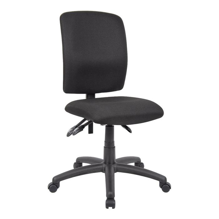 Office Chair Multi Function Middle Back Ergonomic Black Fabric Without Arms
