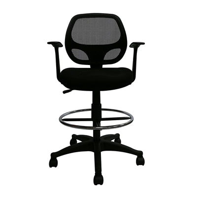 Black Mesh Computer Desk Chair with Footring - Mid-Back Ergonomic