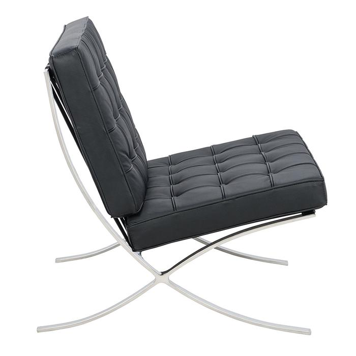 Barcelona Couch Sofa Leather with Stainless Steel Frame - in Color Black