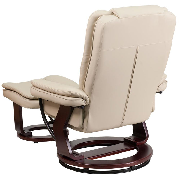 Nicer Furniture - Flash Furniture Contemporary Leather Recliner and Ottoman, Beige with Swiveling Mahogany (Brown) Wood Base