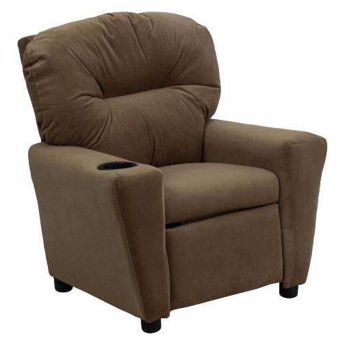 Nicer Furniture - Flash Furniture Contemporary Brown microfiber Kids Recliner with Cup Holder