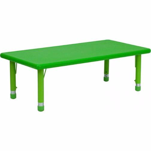 Nicer Furniture - Flash Furniture 24''W x 48''L Height Adjustable Rectangular Plastic Activity Table, Green