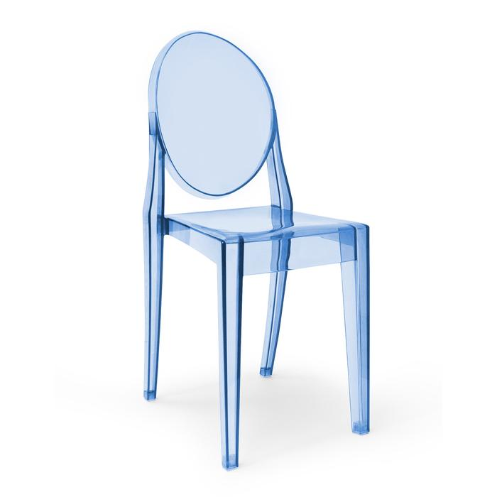 Modern Victoria Dining Chair Polycarbonate Plastic in Blue (Set of 4)