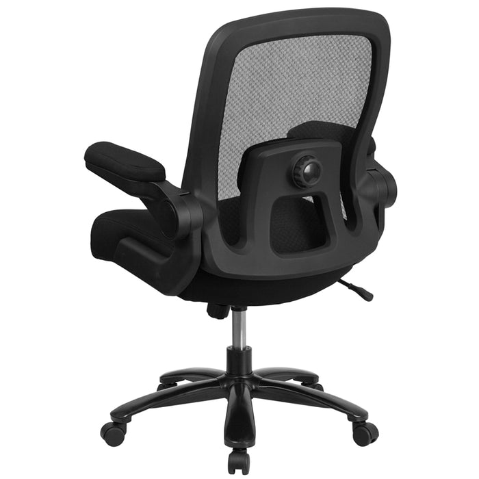 500 lb. Rated Big & Tall Black Mesh Executive Swivel Chair with Leather Seat and Adjustable Lumbar