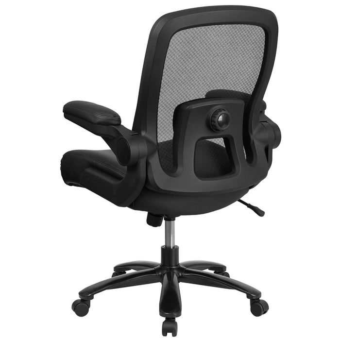500 lb. Rated Big & Tall Black Mesh Executive Swivel Chair with Fabric Seat and Adjustable Lumbar