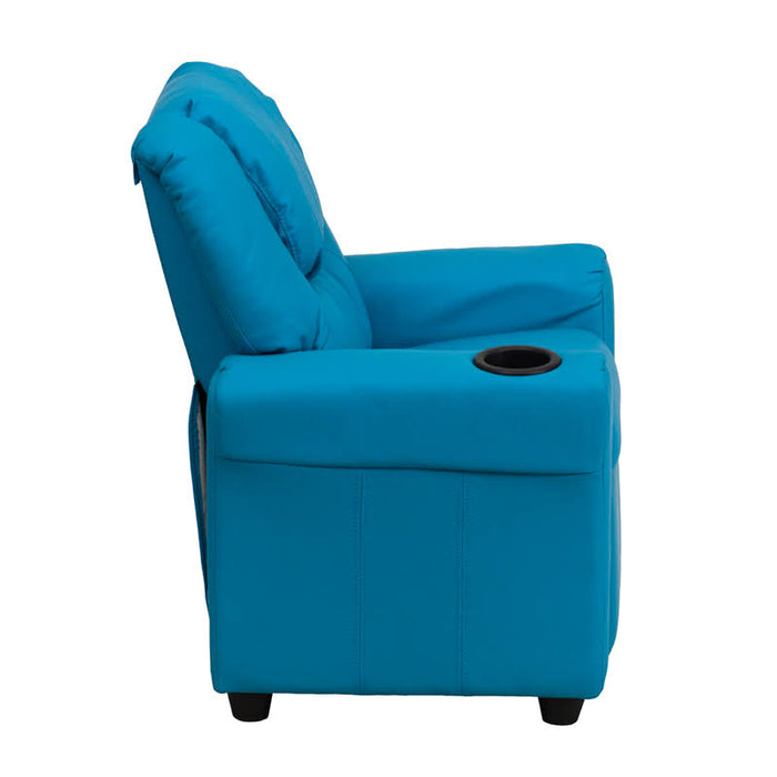 Nicer Furniture - Flash Furniture Contemporary Vinyl Kids Recliner W/Cup Holder and Headrest, Turquoise