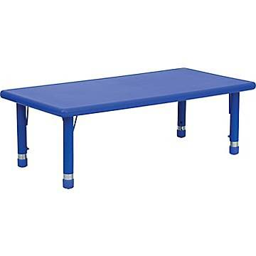 Nicer Furniture - Flash Furniture 24''W x 48''L Height Adjustable Rectangular Plastic Activity Table, Blue
