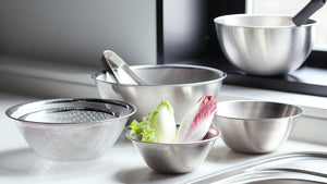 Sori Yanagi 18-8 Stainless Bowl 3pcs Set - Matte Finish - Stackable for Storage - Rust Proof - Dishwasher Safe