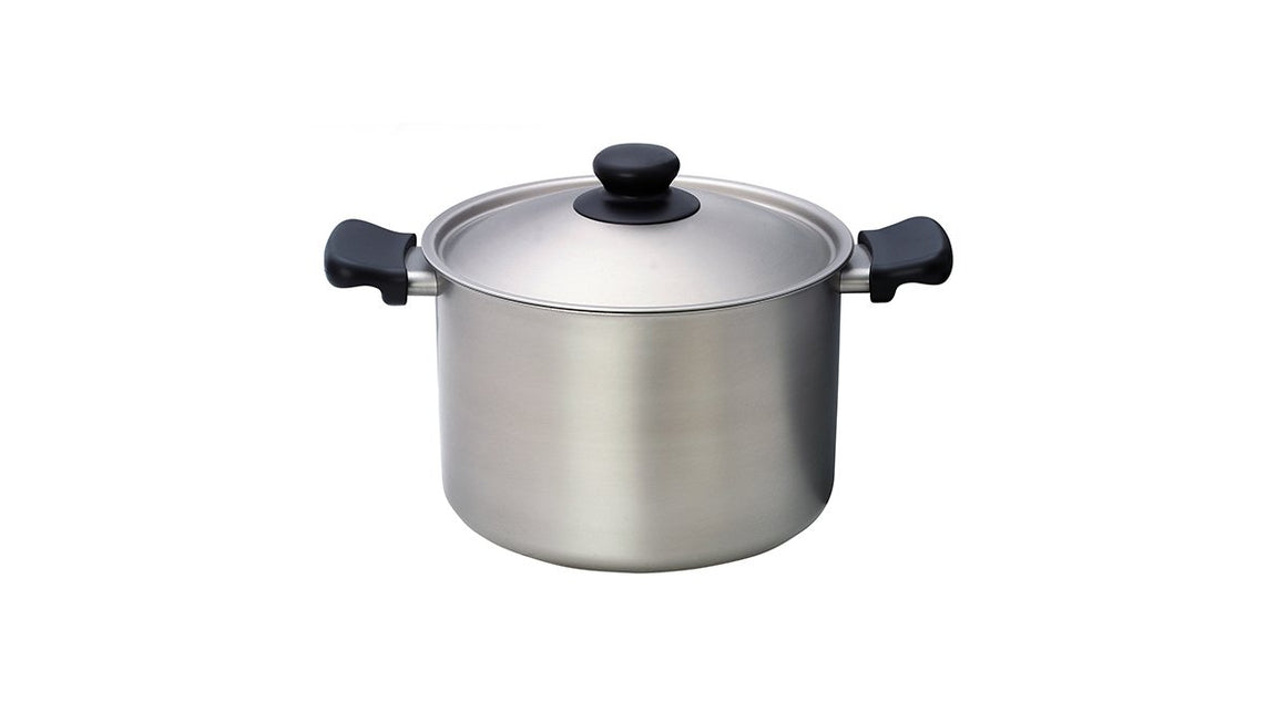 Sori Yanagi Stainless Aluminum 3 Layer Deep Pot - Matte Finish - Dishwasher safe - Made in Japan - 18-8 stainless steel for corrosion resistance - Aluminum for heat conductivity
