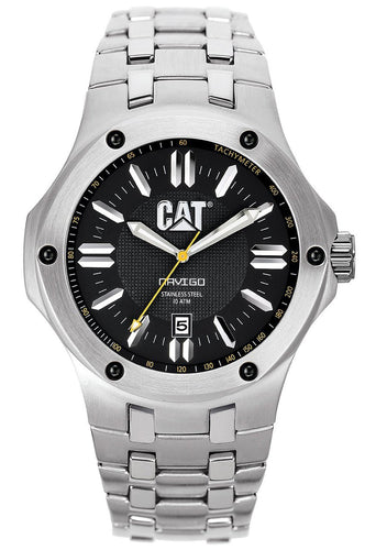 CAT WATCHES Mens Navigo Date Black and Yellow Analog Dial Stainless Steel Bracelet Watch