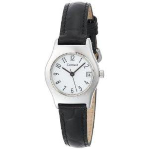 Carriage Womens Silvertone Black Leather Strap Watch