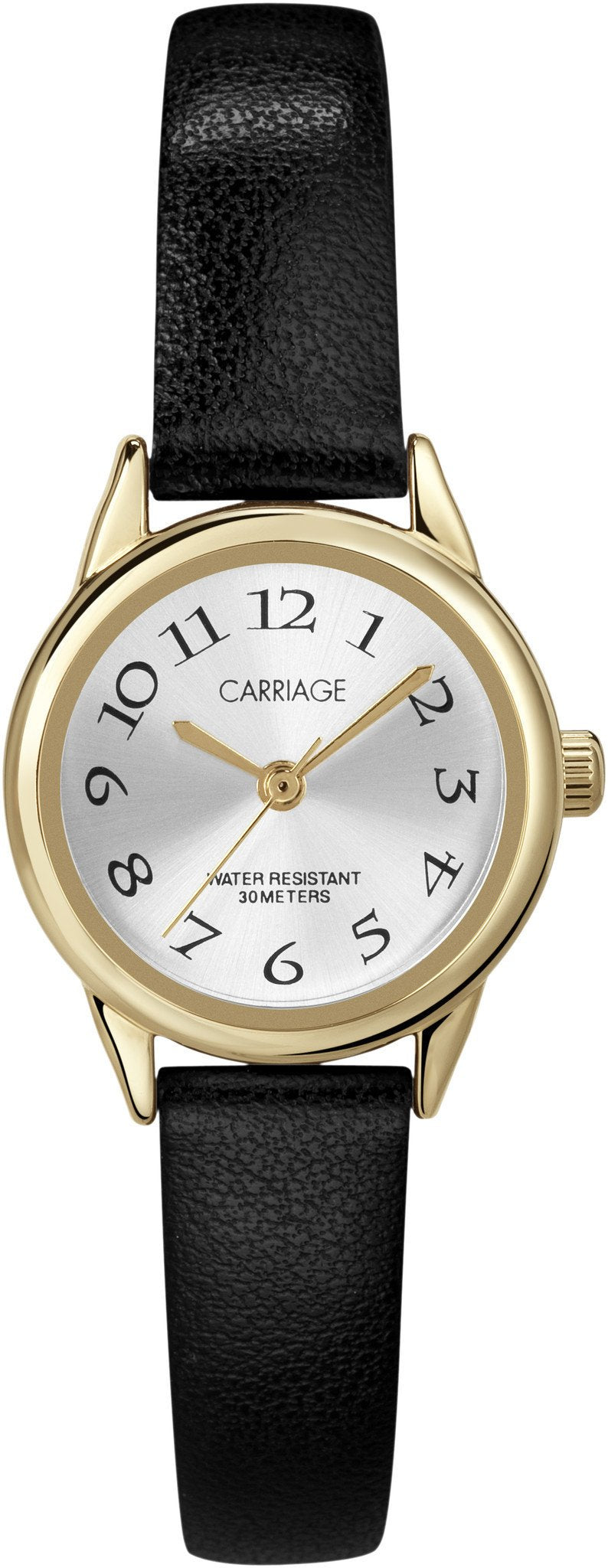 Carriage Womens Goldtone Black Strap Watch