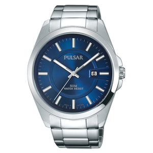 Men's Business Collection Silver Tone with Blue Dial