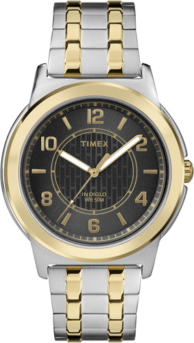 Timex Men's Black Dial Two-tone Stainless Steel Expansion Watch