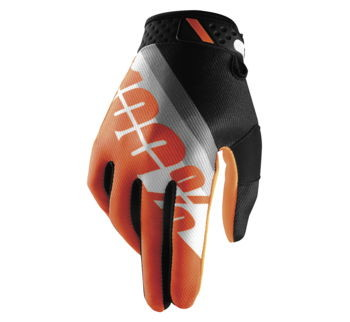 100% Men's Ridefit Gloves; Slant Orange; S