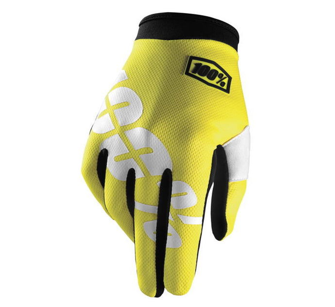 100% Youth iTrack Gloves; Neon Yellow; YM