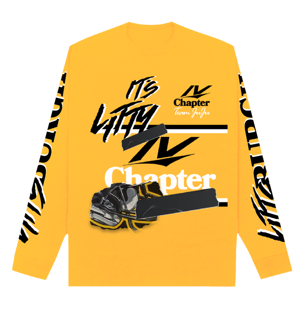 Yellow long sleeve tee with black and white graphic on both sleeves and front of the shirt.