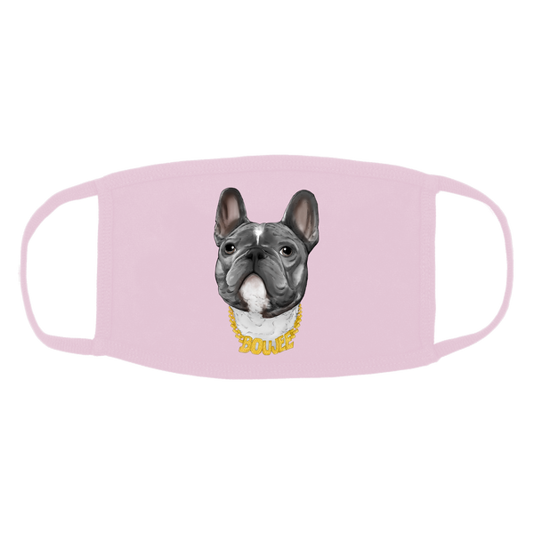 Pink face mask with Boujee graphic.