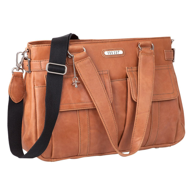 Sydney Satchel Leather in Rich Tan - NappyBags.com