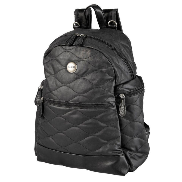 Black Fisheye Coated Cotton Backpack - NappyBags.com